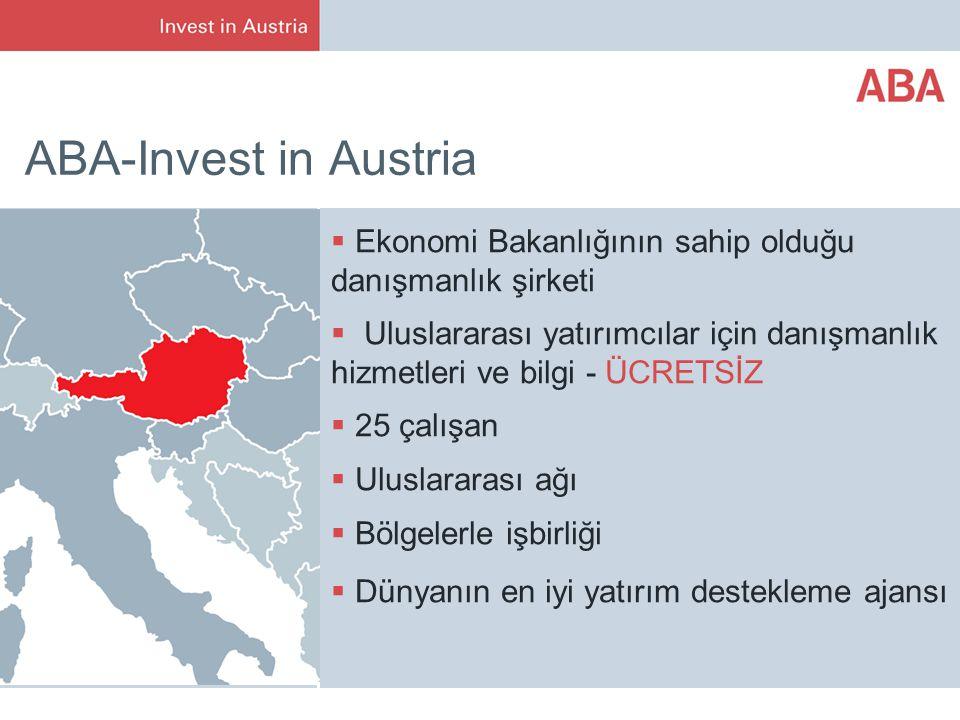ABA-Invest in Austria  Ekonomi Bakanlığının sahip olduğu danışmanlık şirketi  Uluslararası yatırımcılar için danışmanlık hizmetleri ve bilgi - ÜCRETSİZ  25 çalışan  Uluslararası ağı  Bölgelerle işbirliği  Dünyanın en iyi yatırım destekleme ajansı