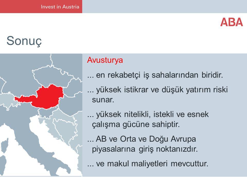 Sonuç Avusturya...en rekabetçi iş sahalarından biridir....