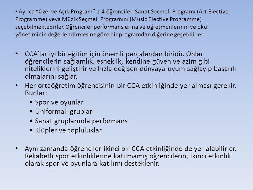 • Ayrıca Özel ve Açık Program 1-4 öğrencileri Sanat Seçmeli Programı (Art Elective Programme) veya Müzik Seçmeli Programını (Music Elective Programme) seçebilmektedirler.