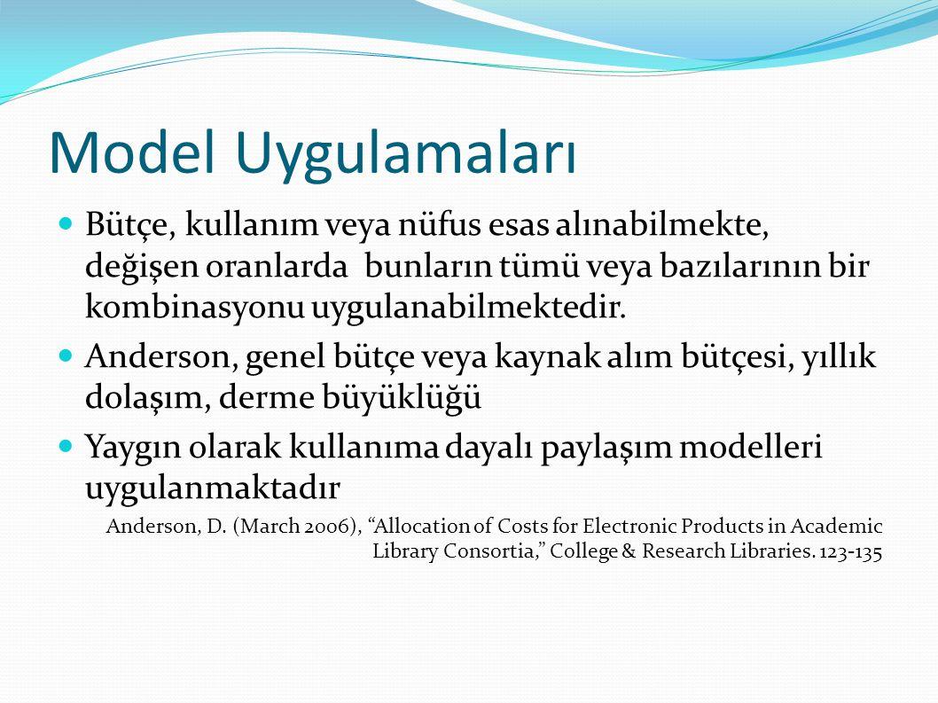 Model Uygulamaları  Bütçe, kullanım veya nüfus esas alınabilmekte, değişen oranlarda bunların tümü veya bazılarının bir kombinasyonu uygulanabilmektedir.