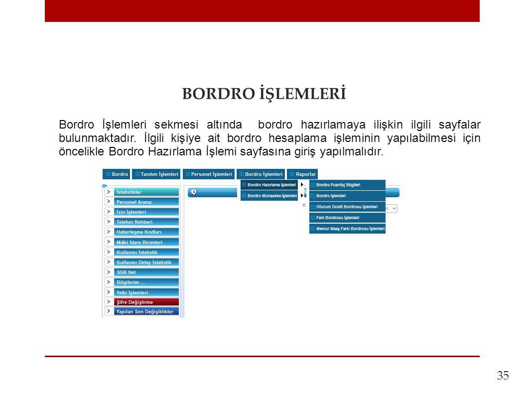 35 BORDRO İŞLEMLERİ Bordro İşlemleri sekmesi altında bordro hazırlamaya ilişkin ilgili sayfalar bulunmaktadır.
