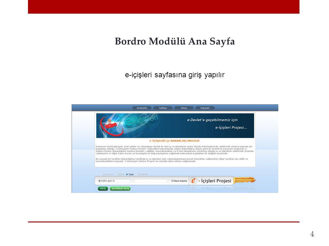 Bordro Modülü Ana Sayfa 4 e-içişleri sayfasına giriş yapılır