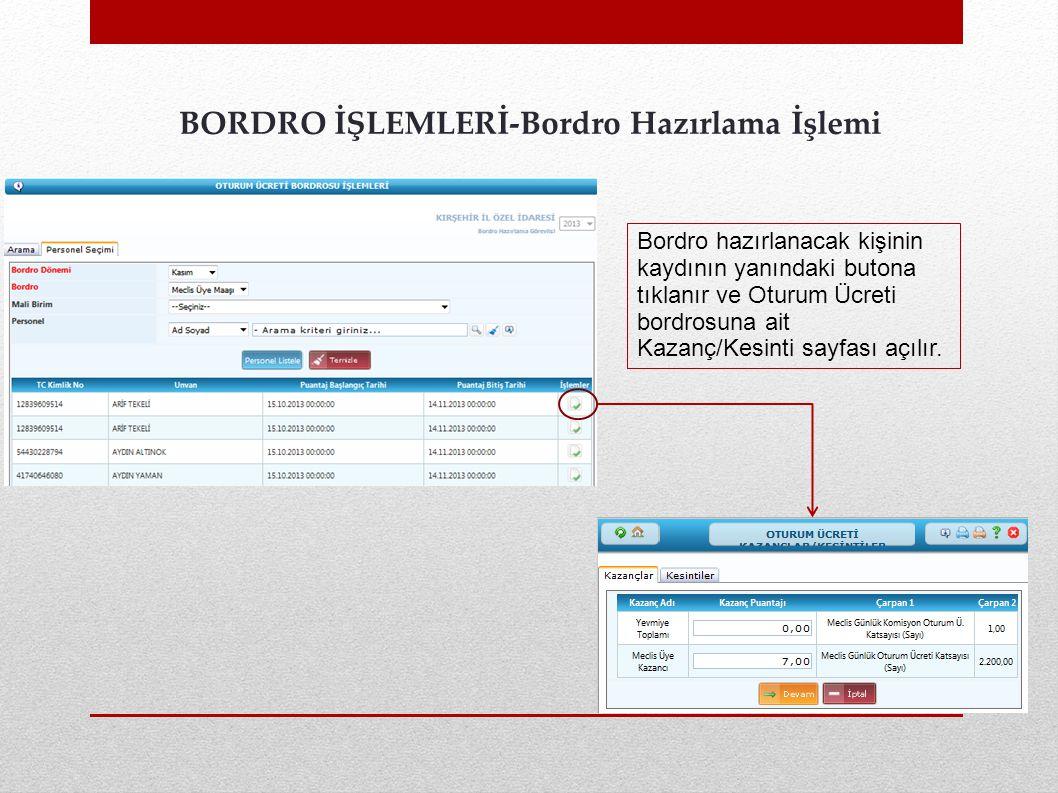 BORDRO İŞLEMLERİ-Bordro Hazırlama İşlemi Bordro hazırlanacak kişinin kaydının yanındaki butona tıklanır ve Oturum Ücreti bordrosuna ait Kazanç/Kesinti sayfası açılır.