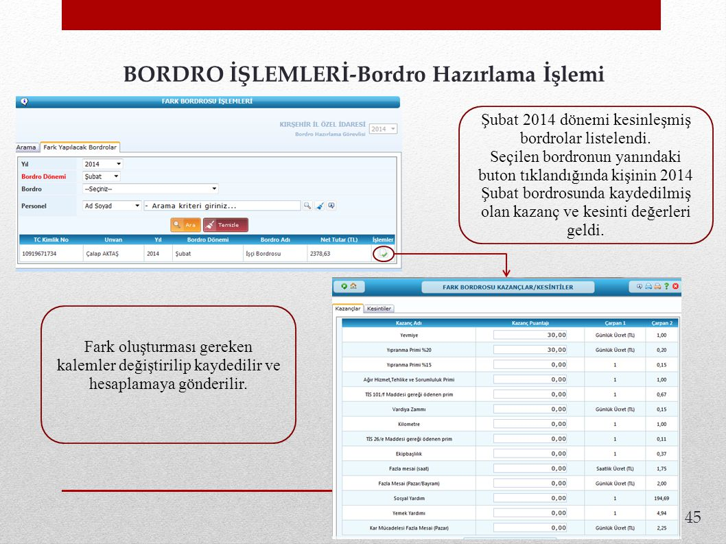 45 BORDRO İŞLEMLERİ-Bordro Hazırlama İşlemi.Şubat 2014 dönemi kesinleşmiş bordrolar listelendi.
