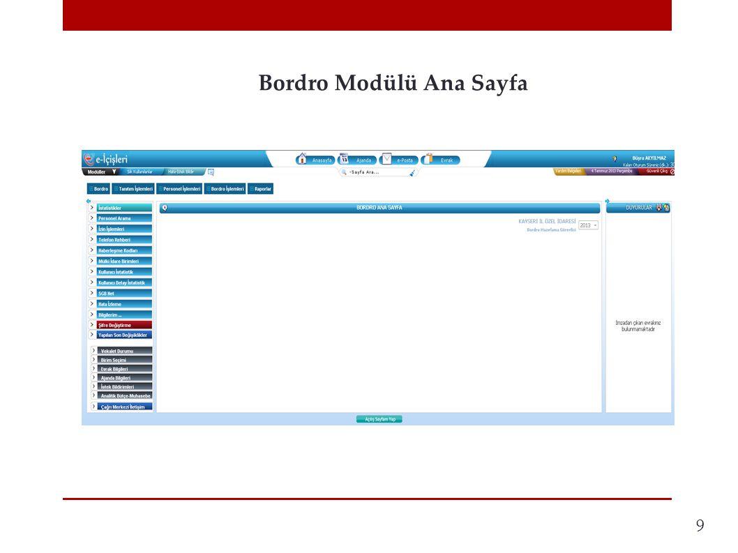 Bordro Modülü Ana Sayfa 9