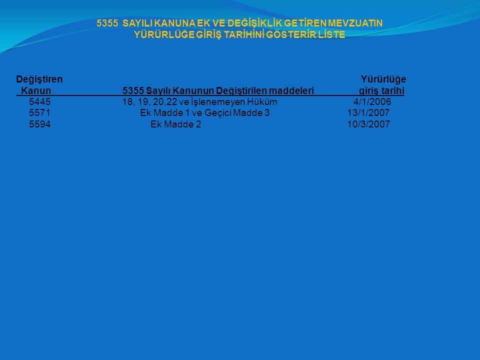 5355 SAYILI KANUNA EK VE DEĞİŞİKLİK GETİREN MEVZUATIN YÜRÜRLÜĞE GİRİŞ TARİHİNİ GÖSTERİR LİSTE Değiştiren Yürürlüğe Kanun 5355 Sayılı Kanunun Değiştiri
