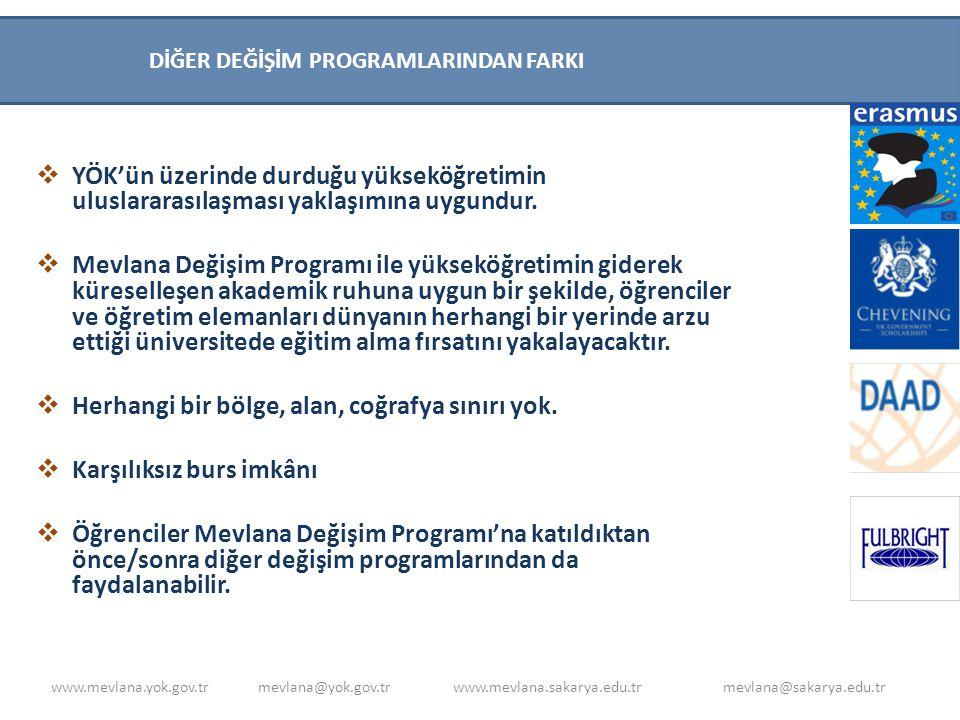  Yükseköğretimin uluslararasılaşması sürecine katkıda bulunmak,  Türkiye'yi yükseköğretim alanında bir cazibe merkezi haline getirmek,  Yükseköğretim kurumlarımızın akademik kapasitelerini artırmak,  Türkiye'nin zengin tarihsel ve kültürel mirasını küresel düzeyde paylaşmak,  Kültürler arası etkileşimin artmasıyla, farklılıklara saygı ve anlayış kültürünün zenginleşmesini sağlamaktır.