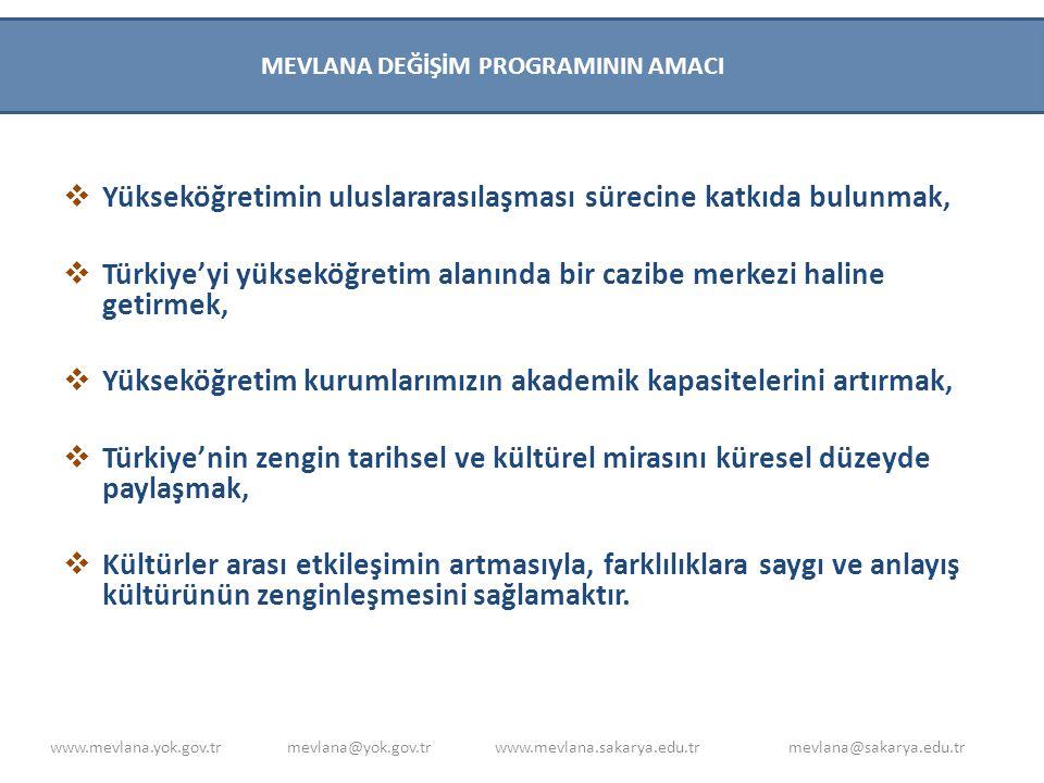  MEVLANA DEĞİŞİM PROGRAMI PROTOKOLÜ HAZIRLANMASI :  -Diploma denklikleri tanınan yükseköğretim kurumları arasında.