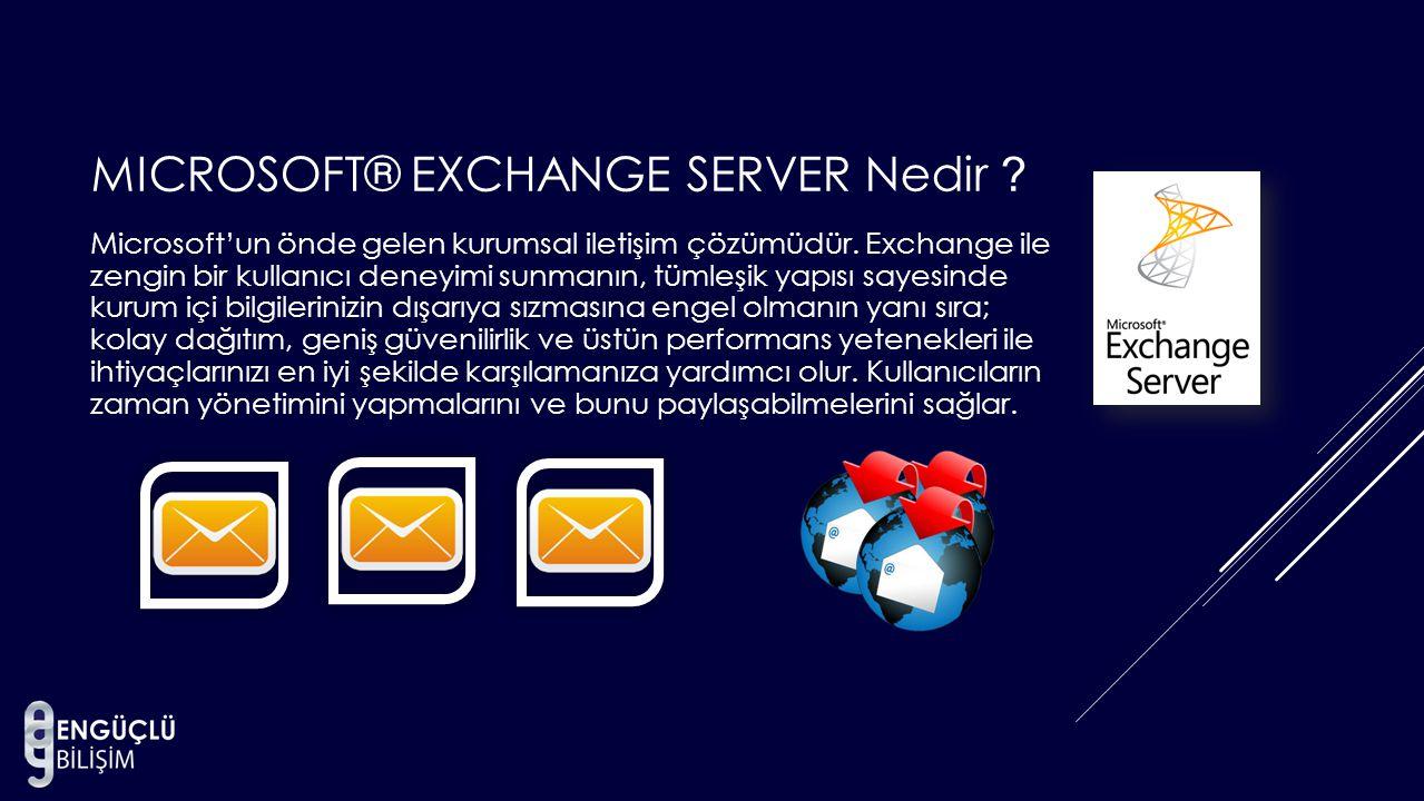 MICROSOFT® EXCHANGE SERVER Nedir ? Microsoft'un önde gelen kurumsal iletişim çözümüdür. Exchange ile zengin bir kullanıcı deneyimi sunmanın, tümleşik