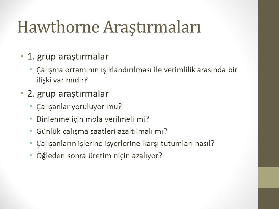 Hawthorne Araştırmaları • 1.