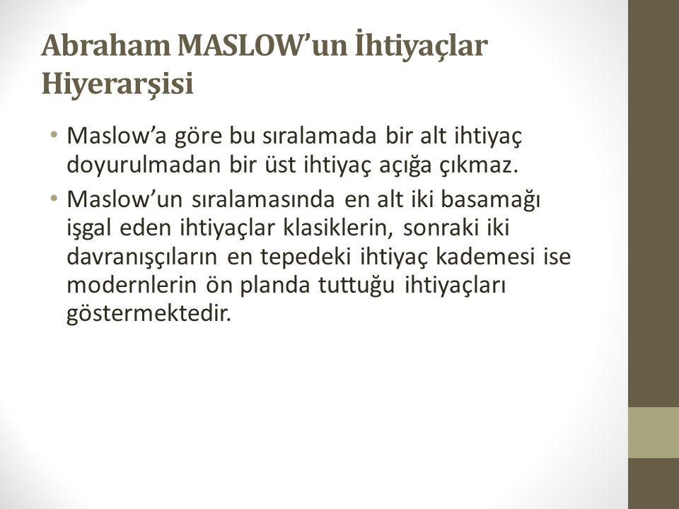 Abraham MASLOW'un İhtiyaçlar Hiyerarşisi • Maslow'a göre bu sıralamada bir alt ihtiyaç doyurulmadan bir üst ihtiyaç açığa çıkmaz. • Maslow'un sıralama