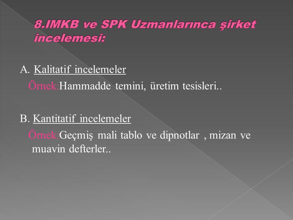 A. Kalitatif incelemeler Örnek:Hammadde temini, üretim tesisleri..