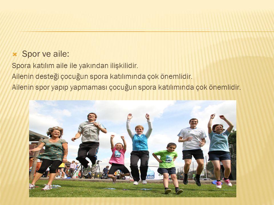  Spor ve aile: Spora katılım aile ile yakından ilişkilidir. Ailenin desteği çocuğun spora katılımında çok önemlidir. Ailenin spor yapıp yapmaması çoc