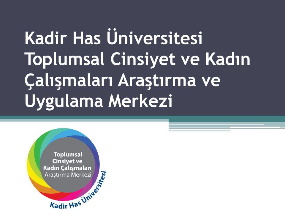 •Kadir Has Üniversitesi Toplumsal Cinsiyet ve Kadın Çalışmaları Araştırmaları Merkezi'nin amacı disiplinlerarası araştırmalar ve kadın ve toplumsal cinsiyet konularıyla ilgili akademik eğitimler için mekân yaratmaktır.
