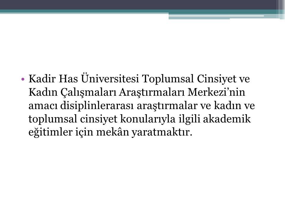 •Kadir Has Üniversitesi Toplumsal Cinsiyet ve Kadın Çalışmaları Araştırmaları Merkezi'nin amacı disiplinlerarası araştırmalar ve kadın ve toplumsal ci
