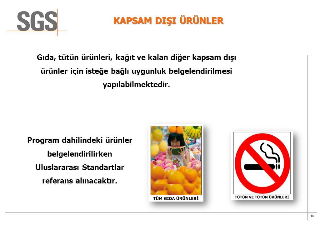 10 KAPSAM DIŞI ÜRÜNLER Gıda, tütün ürünleri, kağıt ve kalan diğer kapsam dışı ürünler için isteğe bağlı uygunluk belgelendirilmesi yapılabilmektedir.
