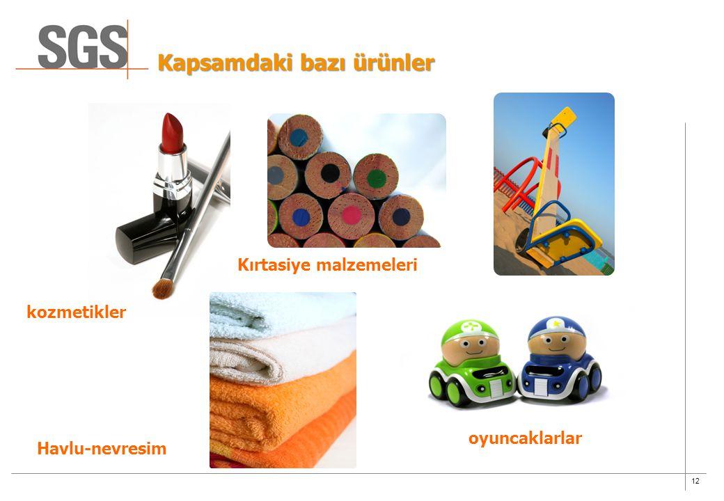 12 Kapsamdaki bazı ürünler kozmetikler oyuncaklarlar Havlu-nevresim Kırtasiye malzemeleri