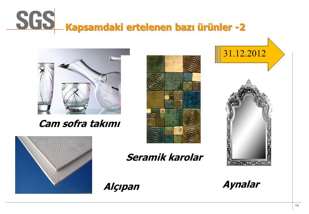 14 Kapsamdaki ertelenen bazı ürünler -2 Alçıpan Cam sofra takımı Seramik karolar Aynalar 31.12.2012