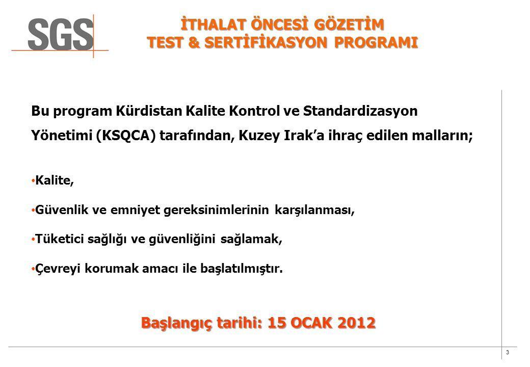 3 İTHALAT ÖNCESİ GÖZETİM TEST & SERTİFİKASYON PROGRAMI Bu program Kürdistan Kalite Kontrol ve Standardizasyon Yönetimi (KSQCA) tarafından, Kuzey Irak'