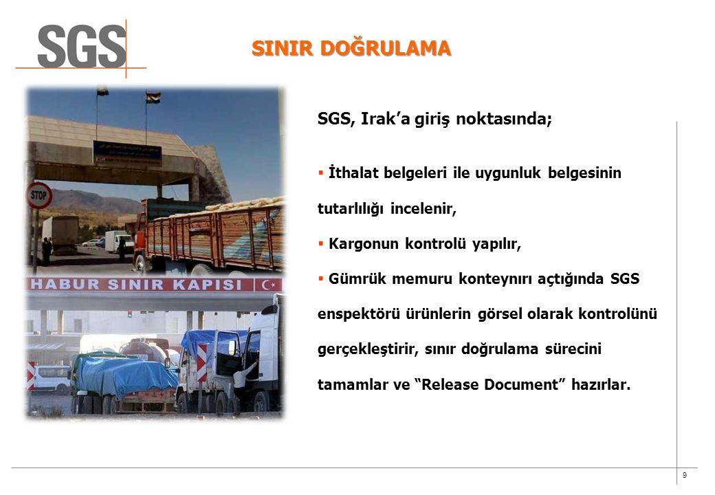 9 SINIR DOĞRULAMA SGS, Irak'a giriş noktasında;  İthalat belgeleri ile uygunluk belgesinin tutarlılığı incelenir,  Kargonun kontrolü yapılır,  Gümr