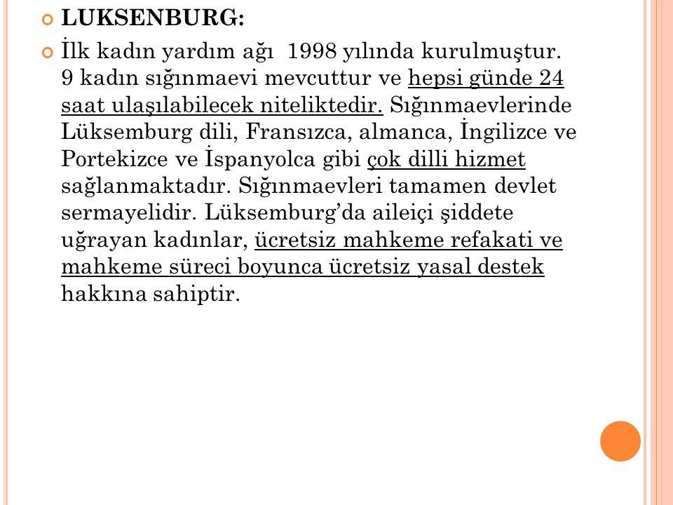 LUKSENBURG: İlk kadın yardım ağı 1998 yılında kurulmuştur.