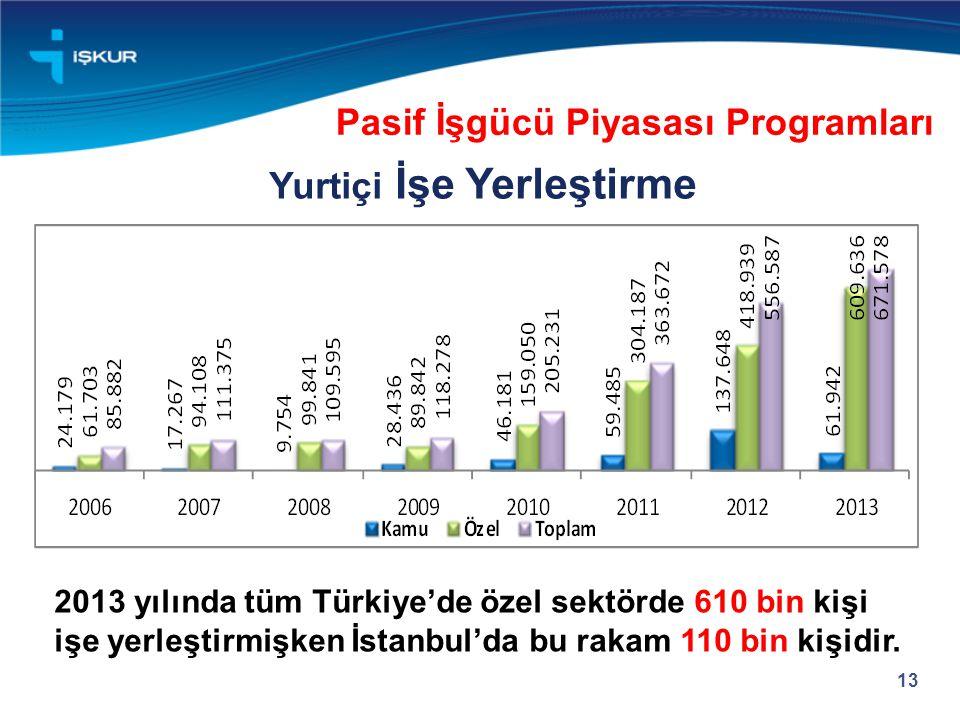 13 Yurtiçi İşe Yerleştirme Pasif İşgücü Piyasası Programları 2013 yılında tüm Türkiye'de özel sektörde 610 bin kişi işe yerleştirmişken İstanbul'da bu