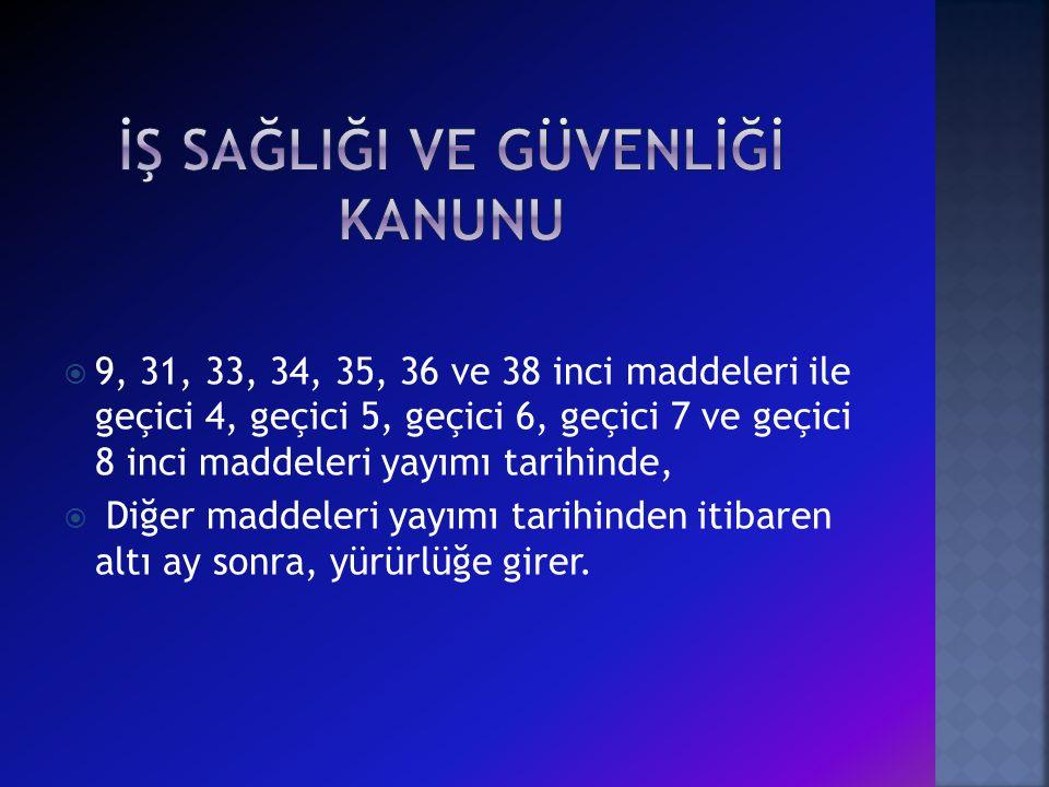  9, 31, 33, 34, 35, 36 ve 38 inci maddeleri ile geçici 4, geçici 5, geçici 6, geçici 7 ve geçici 8 inci maddeleri yayımı tarihinde,  Diğer maddeleri yayımı tarihinden itibaren altı ay sonra, yürürlüğe girer.