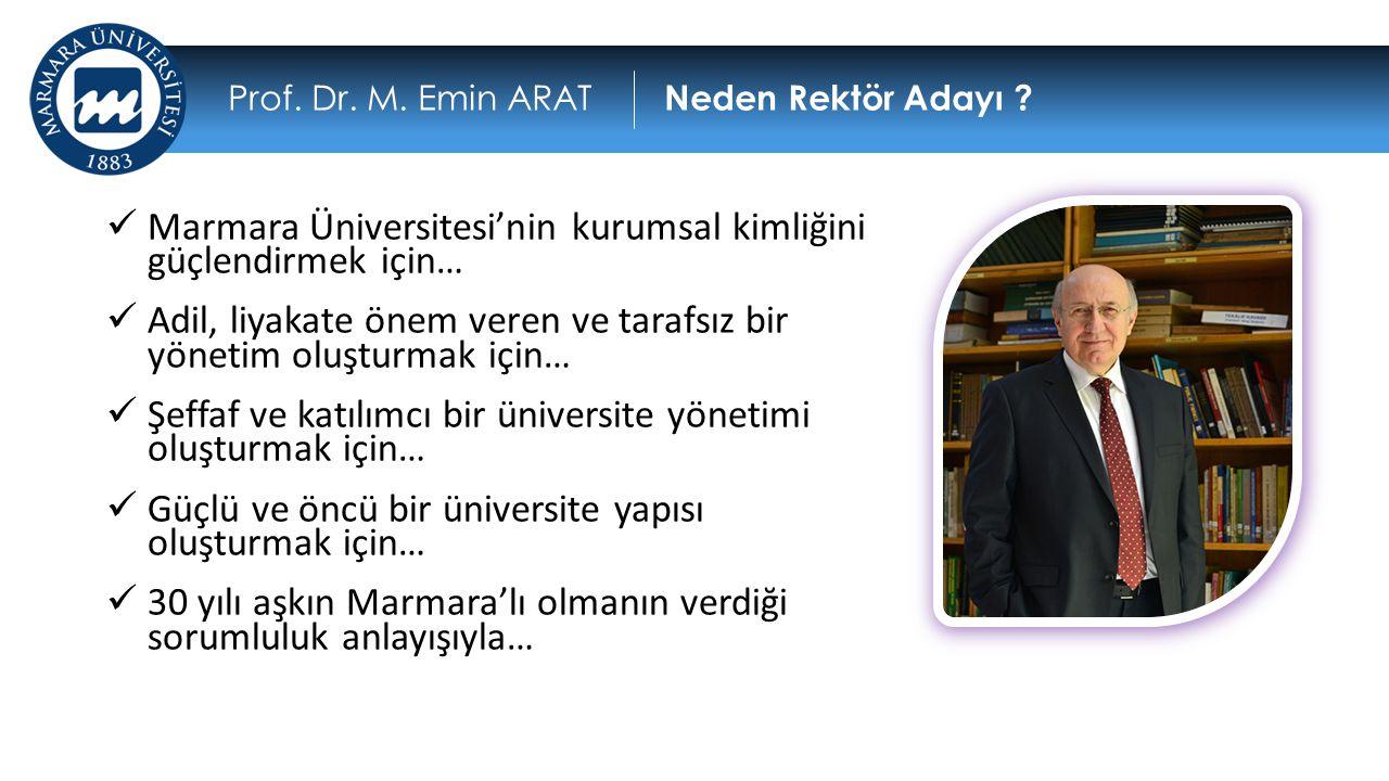  Marmara Üniversitesi'nin kurumsal kimliğini güçlendirmek için…  Adil, liyakate önem veren ve tarafsız bir yönetim oluşturmak için…  Şeffaf ve katı