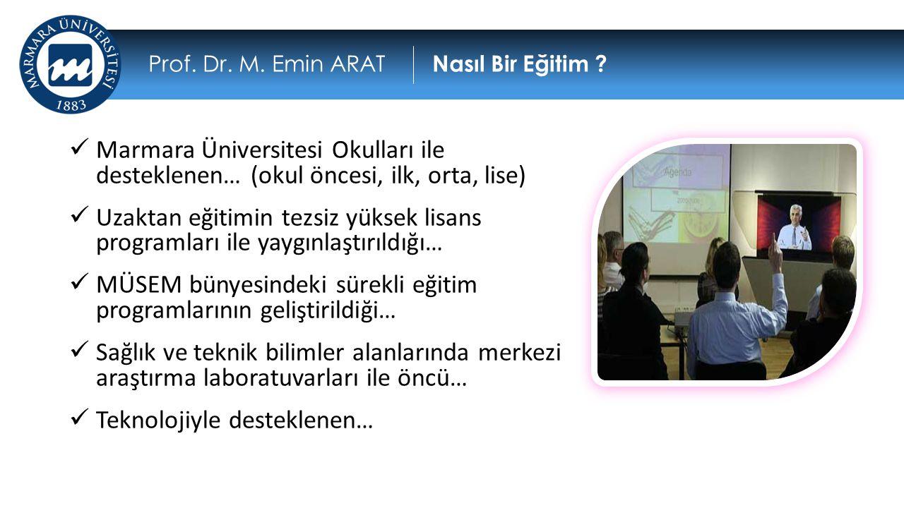  Marmara Üniversitesi Okulları ile desteklenen… (okul öncesi, ilk, orta, lise)  Uzaktan eğitimin tezsiz yüksek lisans programları ile yaygınlaştırıl
