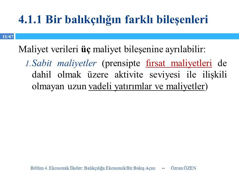 11/47 4.1.1 Bir balıkçılığın farklı bileşenleri Maliyet verileri üç maliyet bileşenine ayrılabilir: 1. Sabit maliyetler (prensipte fırsat maliyetleri