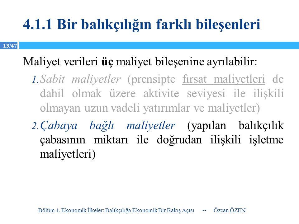 13/47 4.1.1 Bir balıkçılığın farklı bileşenleri Maliyet verileri üç maliyet bileşenine ayrılabilir: 1. Sabit maliyetler (prensipte fırsat maliyetleri