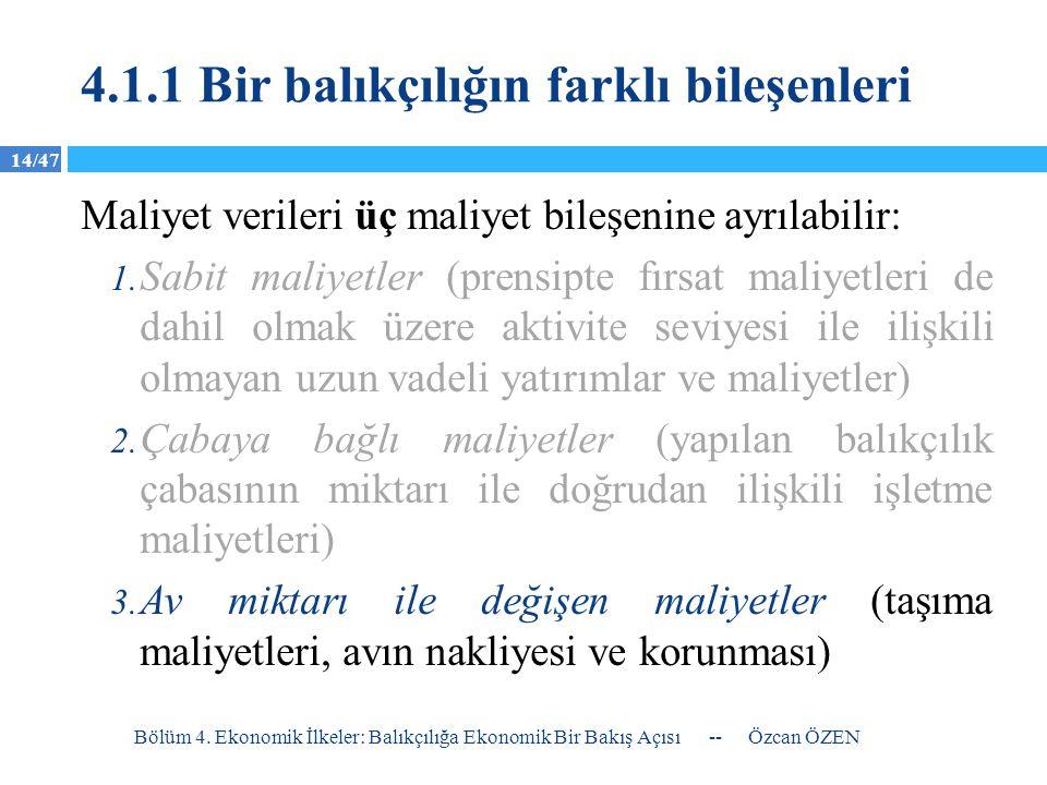 14/47 4.1.1 Bir balıkçılığın farklı bileşenleri Maliyet verileri üç maliyet bileşenine ayrılabilir: 1. Sabit maliyetler (prensipte fırsat maliyetleri