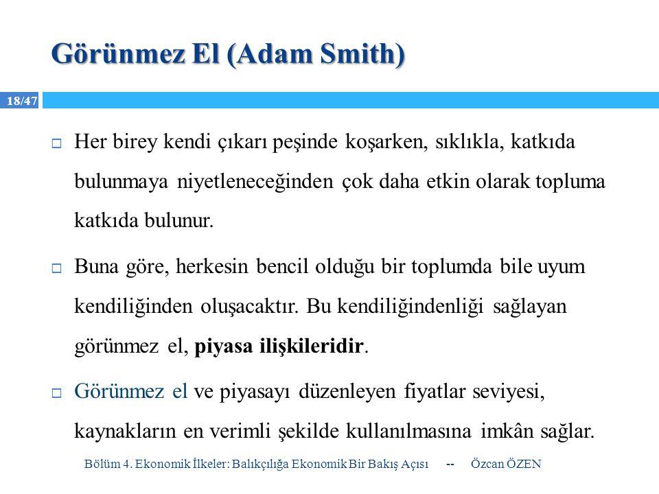 18/47 Görünmez El (Adam Smith)  Her birey kendi çıkarı peşinde koşarken, sıklıkla, katkıda bulunmaya niyetleneceğinden çok daha etkin olarak topluma