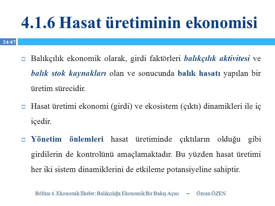 24/47 4.1.6 Hasat üretiminin ekonomisi  Balıkçılık ekonomik olarak, girdi faktörleri balıkçılık aktivitesi ve balık stok kaynakları olan ve sonucunda