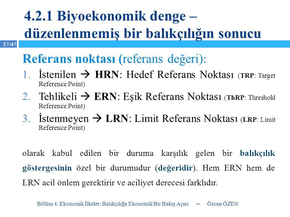 27/47 -- Özcan ÖZEN Bölüm 4. Ekonomik İlkeler: Balıkçılığa Ekonomik Bir Bakış Açısı 1.İstenilen  HRN: Hedef Referans Noktası (TRP: Target Reference P