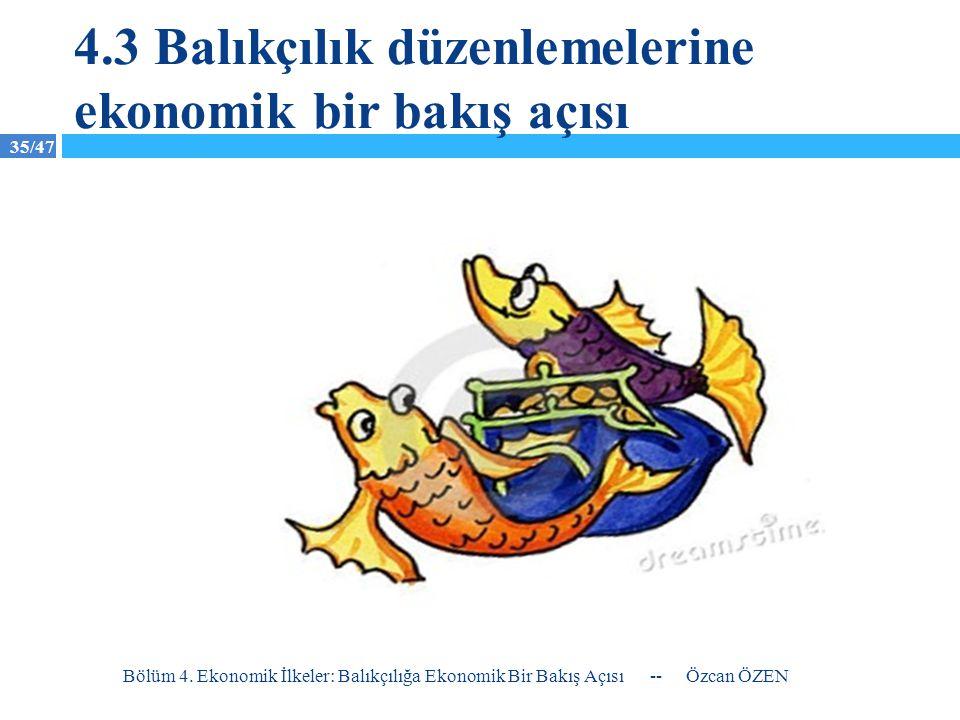 35/47 4.3 Balıkçılık düzenlemelerine ekonomik bir bakış açısı -- Özcan ÖZEN Bölüm 4. Ekonomik İlkeler: Balıkçılığa Ekonomik Bir Bakış Açısı