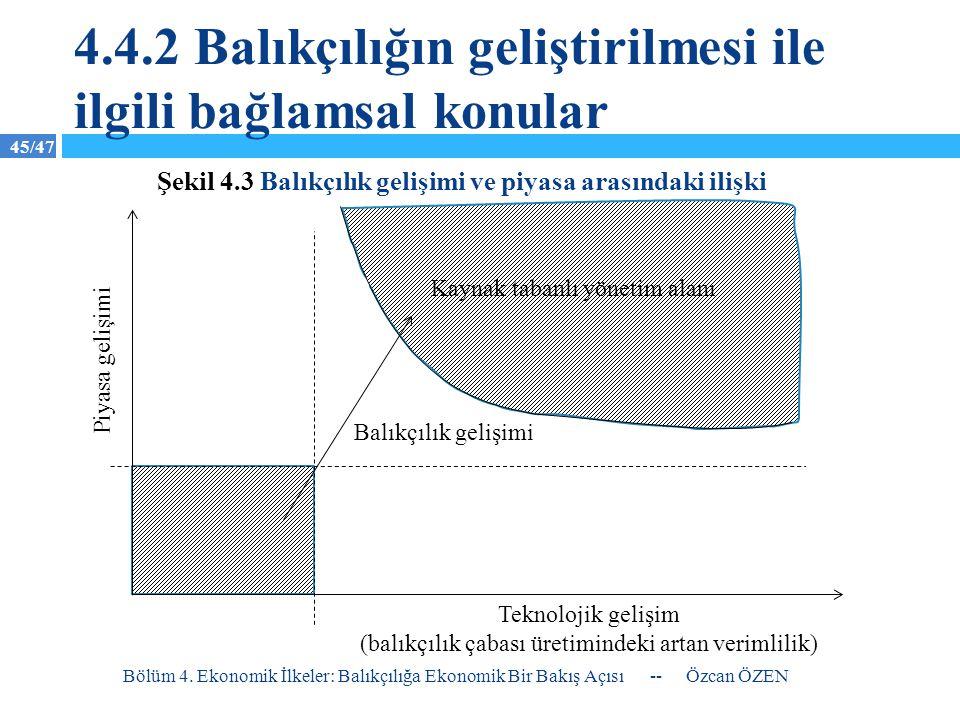45/47 4.4.2 Balıkçılığın geliştirilmesi ile ilgili bağlamsal konular -- Özcan ÖZEN Bölüm 4. Ekonomik İlkeler: Balıkçılığa Ekonomik Bir Bakış Açısı Kay