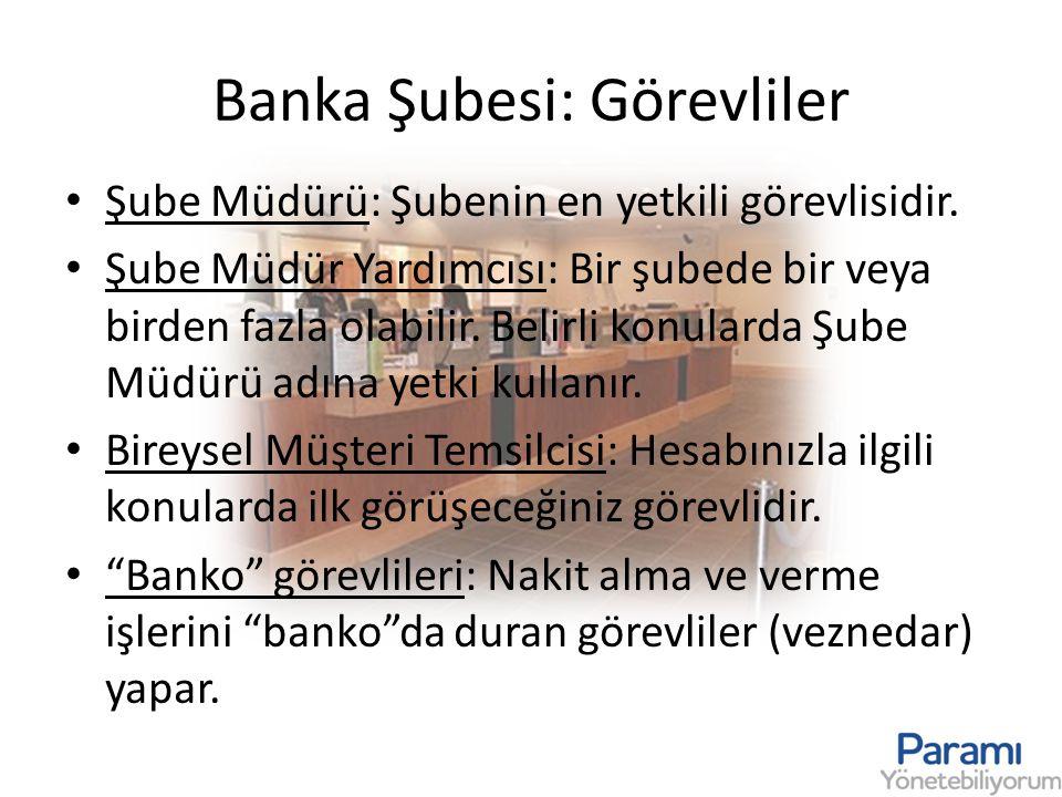 Banka Şubesi: Görevliler • Şube Müdürü: Şubenin en yetkili görevlisidir. • Şube Müdür Yardımcısı: Bir şubede bir veya birden fazla olabilir. Belirli k