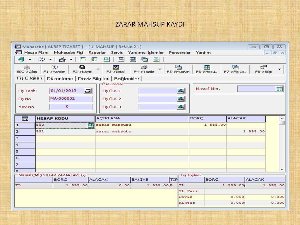 ZARAR MAHSUP KAYDI