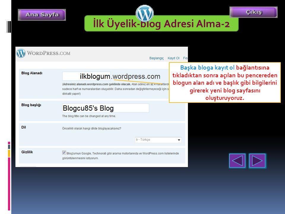 Başka bloga kayıt ol bağlantısına tıkladıktan sonra açılan bu pencereden blogun alan adı ve başlık gibi bilgilerini girerek yeni blog sayfasını oluşturuyoruz.