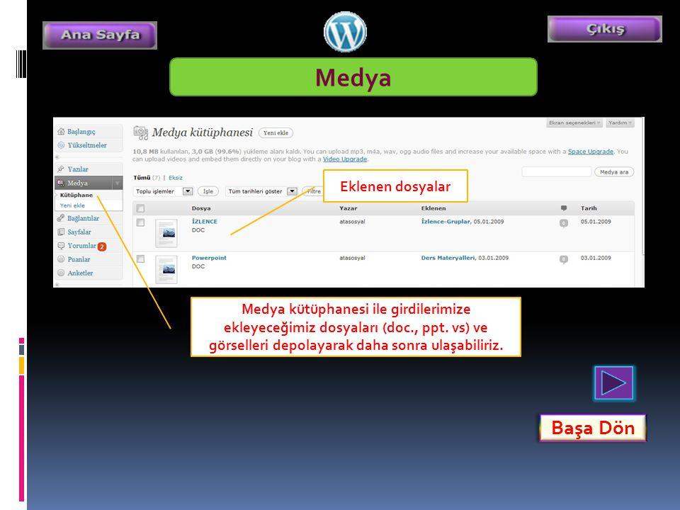 Medya Medya kütüphanesi ile girdilerimize ekleyeceğimiz dosyaları (doc., ppt.