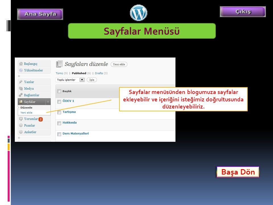 Sayfalar Menüsü Sayfalar menüsünden blogumuza sayfalar ekleyebilir ve içeriğini isteğimiz doğrultusunda düzenleyebiliriz.