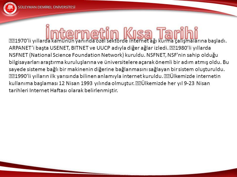 Temel İnternet Kavramları Yaygın olarak kullanılan internet terimlerinin tanımları ve kullanım örnekleri alt başlıklarda açıklanmıştır.