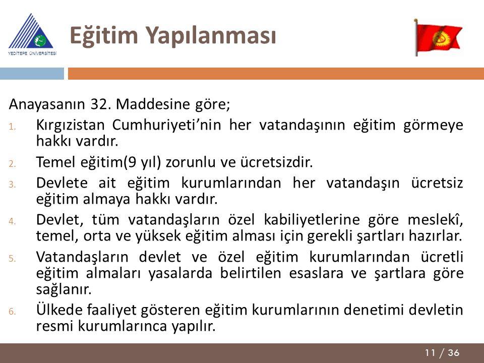 11 / 36 YEDİTEPE ÜNİVERSİTESİ Eğitim Yapılanması Anayasanın 32. Maddesine göre; 1. Kırgızistan Cumhuriyeti'nin her vatandaşının eğitim görmeye hakkı v