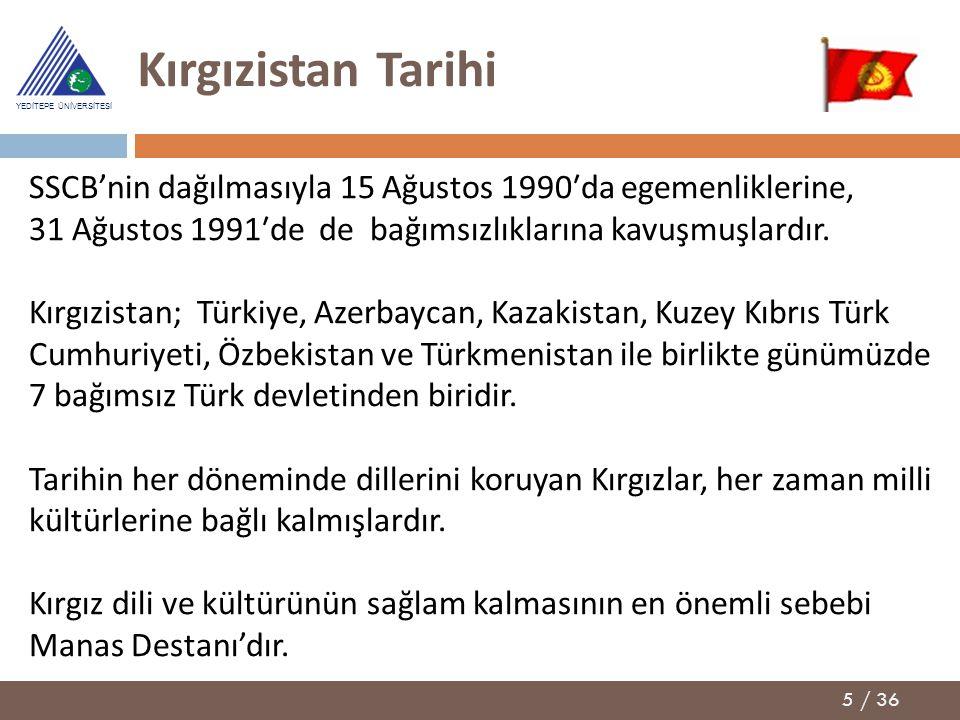 5 / 36 YEDİTEPE ÜNİVERSİTESİ Kırgızistan Tarihi SSCB'nin dağılmasıyla 15 Ağustos 1990′da egemenliklerine, 31 Ağustos 1991′de de bağımsızlıklarına kavu