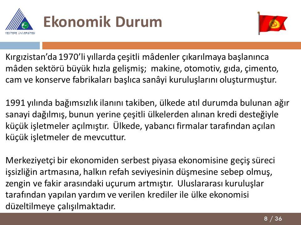 8 / 36 YEDİTEPE ÜNİVERSİTESİ Ekonomik Durum Kırgızistan'da 1970'li yıllarda çeşitli mâdenler çıkarılmaya başlanınca mâden sektörü büyük hızla gelişmiş