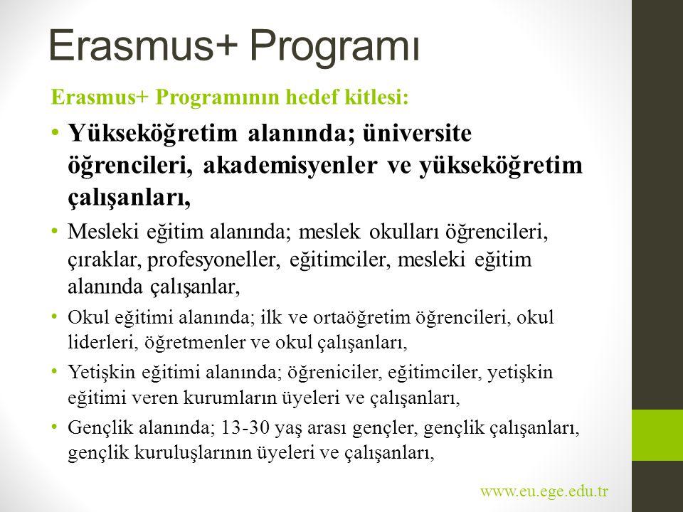 Erasmus+ Programı Erasmus+ Programının hedef kitlesi: • Yükseköğretim alanında; üniversite öğrencileri, akademisyenler ve yükseköğretim çalışanları, •