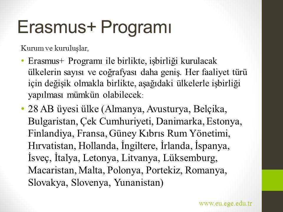 Erasmus+ Programı Kurum ve kuruluşlar, • Erasmus+ Programı ile birlikte, işbirliği kurulacak ülkelerin sayısı ve coğrafyası daha geniş. Her faaliyet t