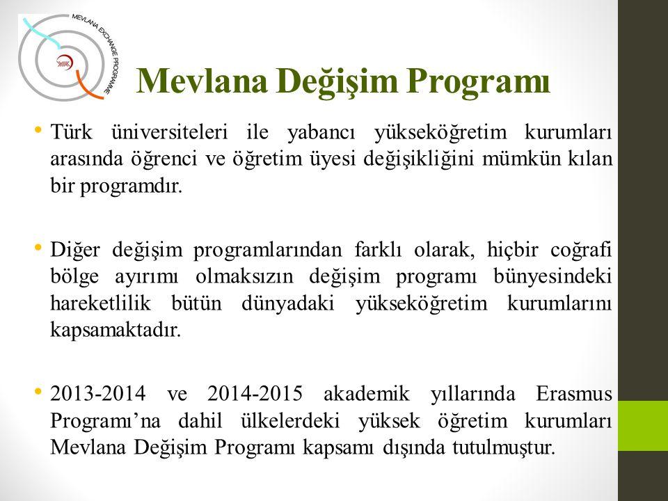 Mevlana Değişim Programı • Türk üniversiteleri ile yabancı yükseköğretim kurumları arasında öğrenci ve öğretim üyesi değişikliğini mümkün kılan bir pr