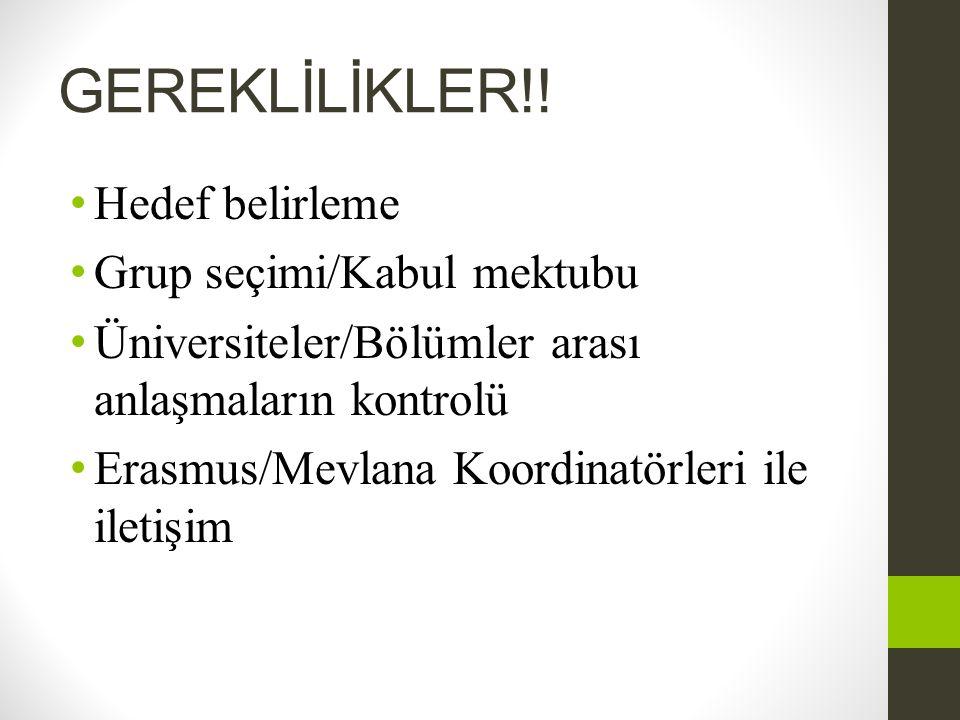 GEREKLİLİKLER!! • Hedef belirleme • Grup seçimi/Kabul mektubu • Üniversiteler/Bölümler arası anlaşmaların kontrolü • Erasmus/Mevlana Koordinatörleri i
